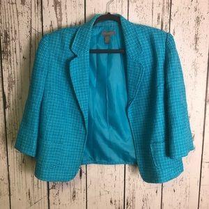 INVESTMENTS Teal Tweed Open Blazer Jacket 14
